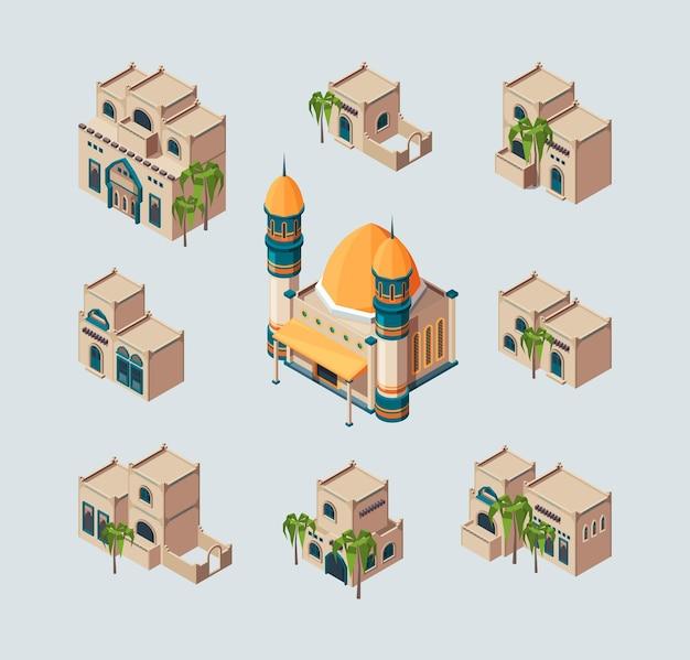 Traditionelle arabische gebäude. östliche sandwüste kulturelle authentische häuser vektor isometrische sammlung. illustration arabische moschee und isometrisches authentisches haus