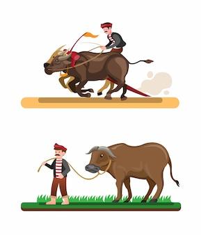 Traditionelle asiatische attraktion des farmer-rassenbüffels, mann, der büffelsammlung reitet, gesetzt in karikaturillustrationsvektor