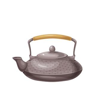 Traditionelle asiatische teekanne. japanisches geschirr für teezeremonieillustration.