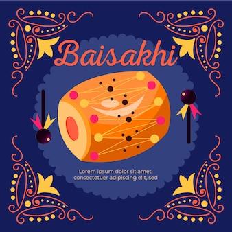 Traditionelle baisakhi-trommel mit flachem design