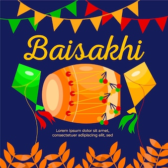Traditionelle baisakhi trommelillustration des flachen entwurfs