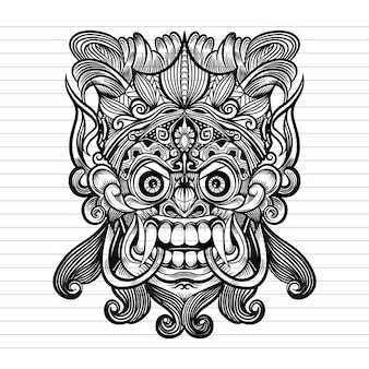 Traditionelle balinesische maske des schrecklichen mythischen verteidigers