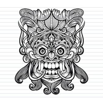 Traditionelle balinesische maske eines schrecklichen mythischen verteidigers