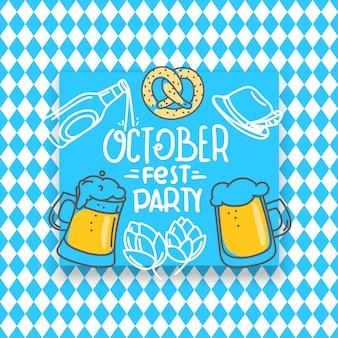 Traditionelle bayerische feiertagsfahne, oktoberfestparty