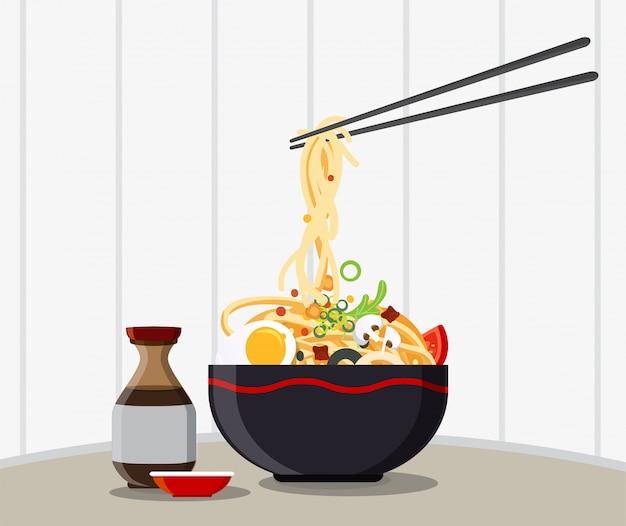Traditionelle chinesische suppe mit nudeln, nudelsuppe in chinesischer schüssel asiatisches essen