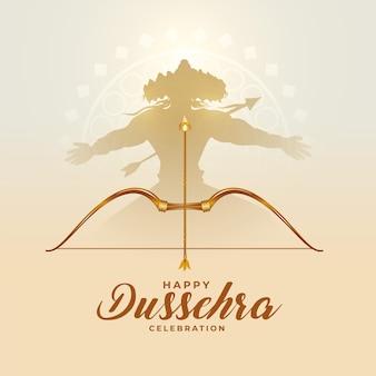 Traditionelle dussehra-festkarte mit ravan und bogenpfeil