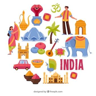 Traditionelle elemente aus indien