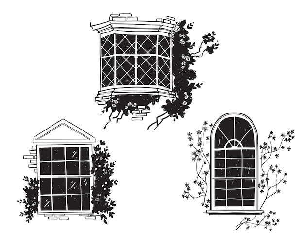 Traditionelle englische viktorianische fenster, architektonische detailvektorskizze