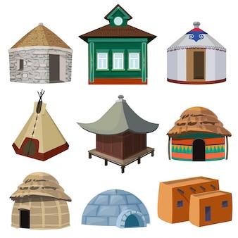 Traditionelle gebäude und kleine häuser verschiedener nationen