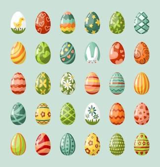 Traditionelle gemalte flache illustrationen der ostereier gesetzt. religiöse feiertags-snacks.