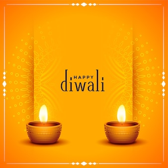Traditionelle glückliche diwali-orangenkarte mit realistischem diya