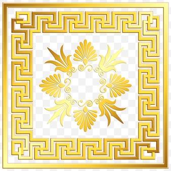 Traditionelle griechische verzierung des goldenen quadrats der weinlese