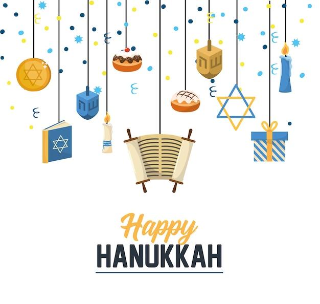 Traditionelle hanukkahfeier mit festlicher dekoration