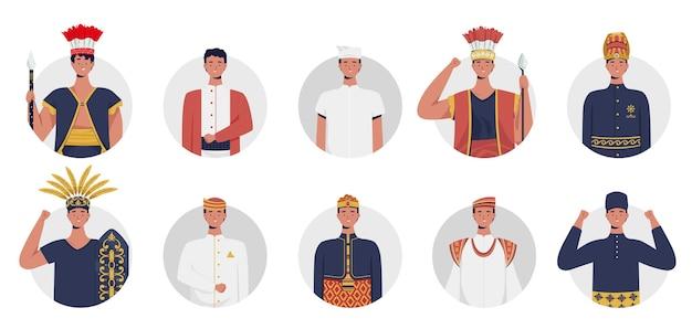 Traditionelle herrenbekleidung in indonesien. flache illustration.