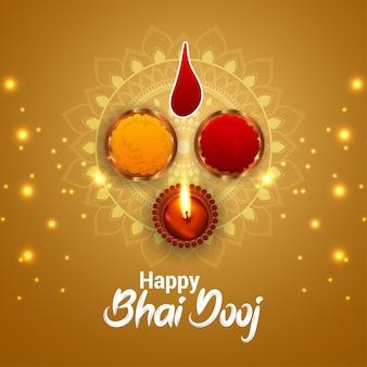 Traditionelle indische festfeier-grußkarte mit kreativer illustration von bhai dooj