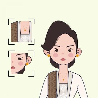 Traditionelle indonesische kebaya-illustration. nette indonesische mädchen-vektorillustration mit traditionellem textil