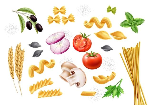 Traditionelle italienische nudelsorten und zutaten basilikumblätter tomaten champignon zwiebel olive