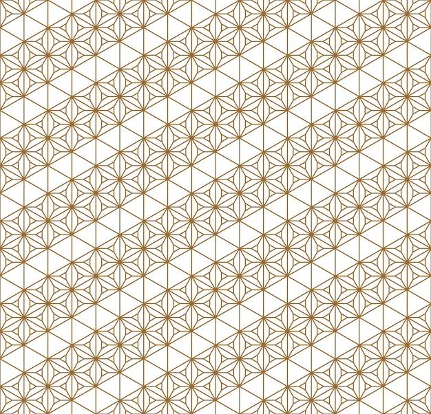 Traditionelle japanische geometrische verzierung des nahtlosen musters goldene farblinien.