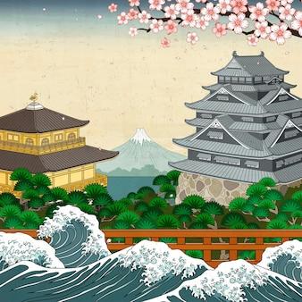 Traditionelle japanische wahrzeichen und wellenfluten, fuji-gebirgshintergrund im ukiyo-e-stil