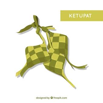 Traditionelle ketupatzusammensetzung mit flachem design