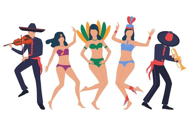 Traditionelle lateinische show. reihe von männern in sombreros