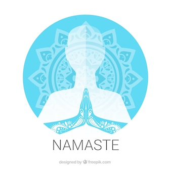 Traditionelle mandala und namaste geste