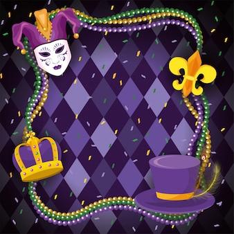 Traditionelle mardi-grasdekoration mit halskettenkugeln