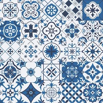Traditionelle mexikanische und portugiesische porzellankeramikfliesenmuster. azulejo, talavera mediterrane patchwork-fliesen-vektor-illustration-set. ethnische volksverzierung aus keramik