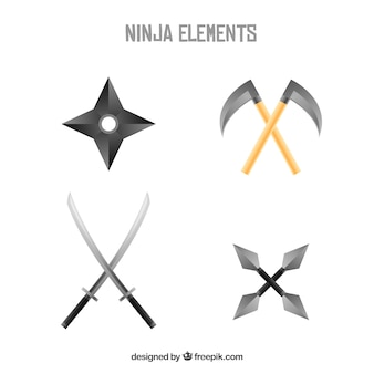 Traditionelle ninja elementsammlung mit flachem design
