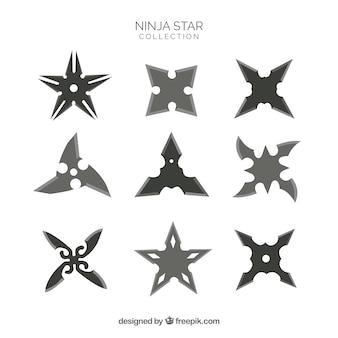 Traditionelle ninja sternsammlung mit flachem design