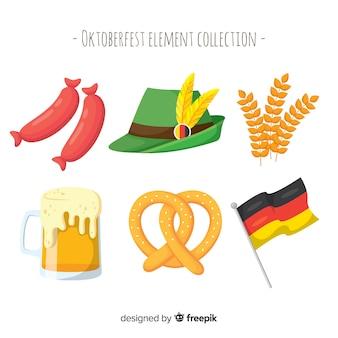 Traditionelle oktoberfest elementsammlung mit flachem design