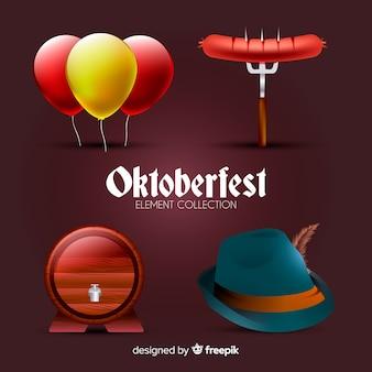 Traditionelle oktoberfest elementsammlung mit realistischem design