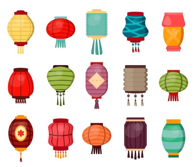 Traditionelle porzellankulturfestivalfeierasien-orientalische dekorationsillustration der chinesischen laterne