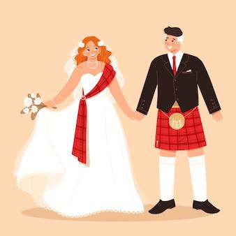 Traditionelle schottische braut und bräutigam