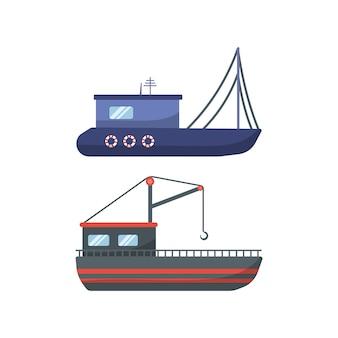 Traditionelle seeschiffe, sammlung von seetransporten. seemotorschiffe, ozeansegelboote, yachten und katamarane, isolierter seetransport. lieferung kreuzfahrtschiff und segelboot.
