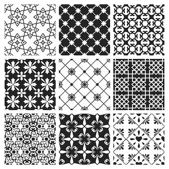 Traditionelle spanische oder portugiesische küchenfliesen. schwarzer keramiksatz des marokkanischen innendesigns des vektors