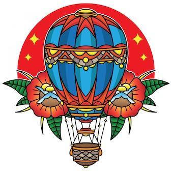 Traditionelle tätowierung des heißluftballons