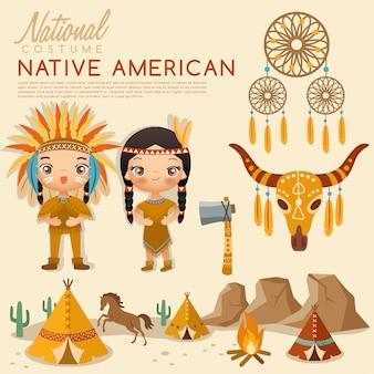 Traditionelle trachten der amerikanischen ureinwohner.