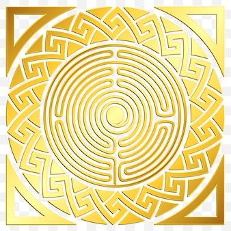 Traditionelle vintage goldene runde griechische verzierung