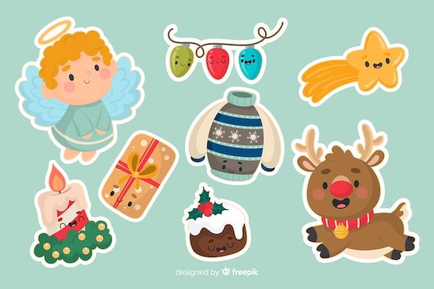 Traditionelle weihnachtsaufkleber sammlung