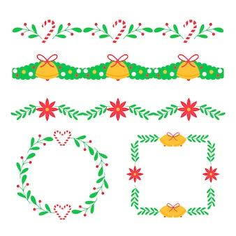 Traditionelle weihnachtskränze und -rahmen