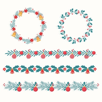 Traditionelle weihnachtsrahmen und -grenzen