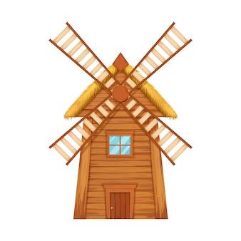 Traditionelle windmühlenillustration aus holz.