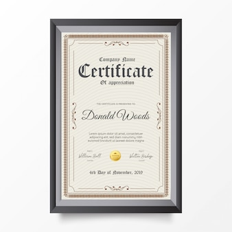 Traditionelle zertifikatvertikale mit verzierungen