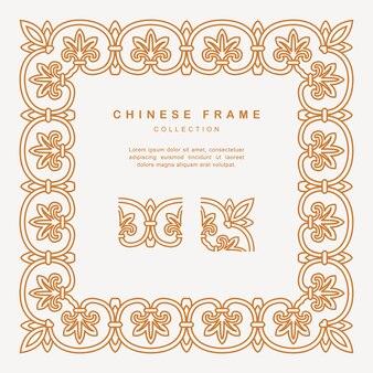 Traditioneller chinesischer goldener rahmen mit blumenelementen