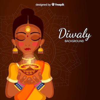 Traditioneller diwali hintergrund mit flachem design