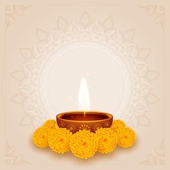 Traditioneller diwali puja hintergrund mit diya und blume