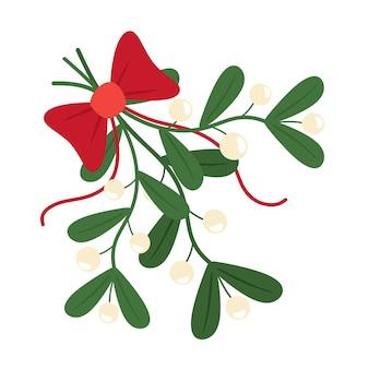 Traditioneller europäischer zweig der weihnachtsmistel. mistelzweig mit schleife und band. im flachen stil.