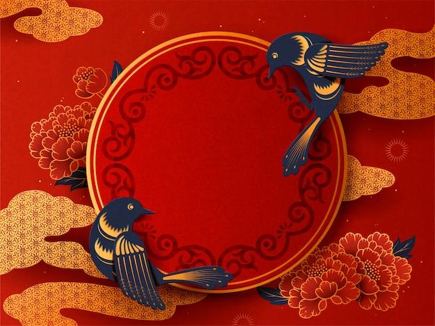 Traditioneller frühlings-couplet-hintergrund des mondjahres mit schwalbe
