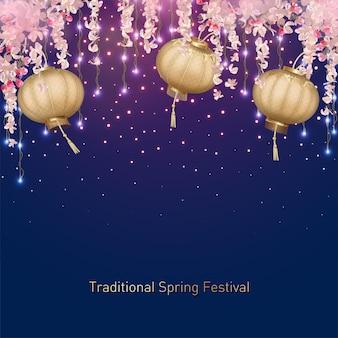 Traditioneller frühlingsfesthintergrund mit hängenden blumen und seidenlaternen. chinesischer neujahrshintergrund